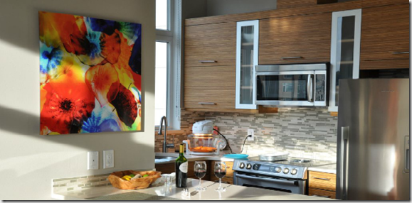 acrylic photo mounting in kitchen